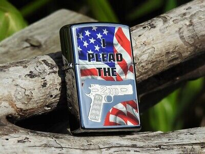 Zippo Lighter -  I Plead the 2nd - Second Amendment - US Flag - Colt 1911 - Gun