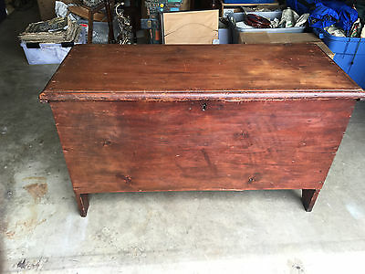 Antique Primitive AAFA Red Painted Pine New England Blanket Chest w/ Provenance