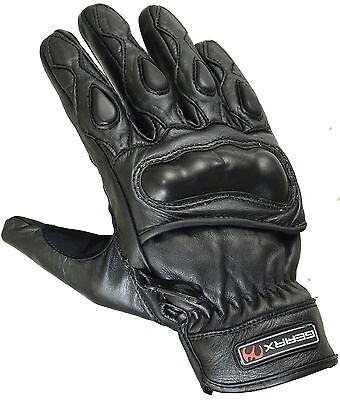 Short Protective Carbon Shell Leather Motorbike Motorcycle Gloves Reflective