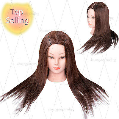 """85% Real Hair 22"""" Cosmetology Mannequin Head For Hair styling Training head"""