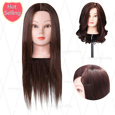 """85% Real Hair Training head 22"""" Hairdressing Mannequin Head For Hair styling"""