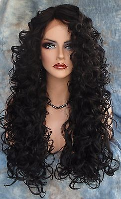 Lace Front Long Curley  Wig Clr #1B Black Elegant Seductive Style Usa Seller 223