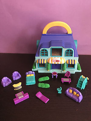 Vintage BLUE BOX - Tiny Dreams - Carry Along Pet Shop / Dollhouse with Furniture