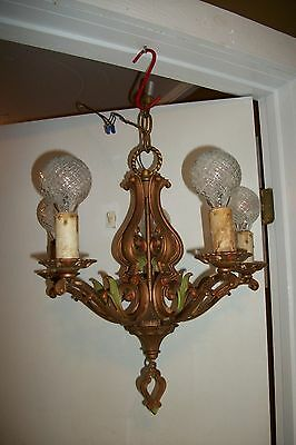 Antique Art Deco Chanderlier VTG Moe Bridges Polychrome Ceiling Light Fixture