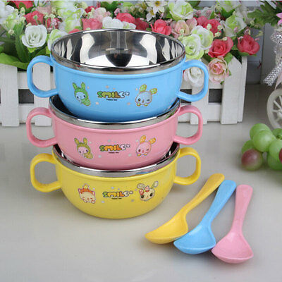 Baby Kid Heat Protection Portable Handle Bowl Stainless Steel Dish Dinnerware