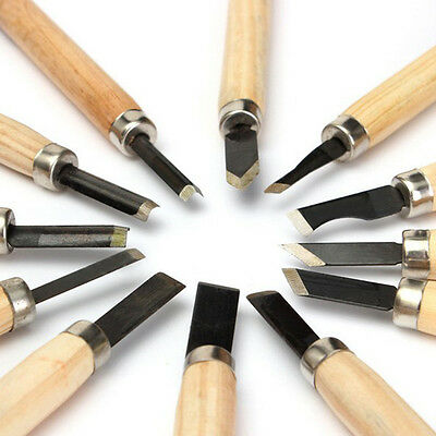 12pc Professional Wood Carving Hand Chisel Knife Tool Set Woodworkers Gouges