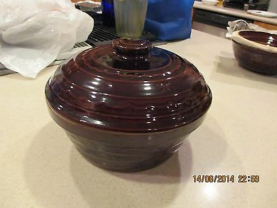 "Marcrest Brown Daisy Dot Dutch Oven Stoneware Covered Casserole 9 3/4"" W x  7"" T"