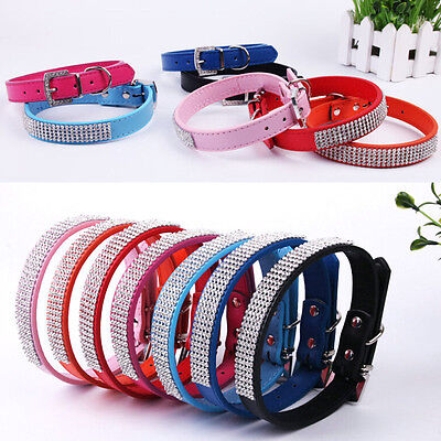 Luxury Bling Crystal Diamond PU Leather Adjustable Puppy Pet Dog Cat Collar