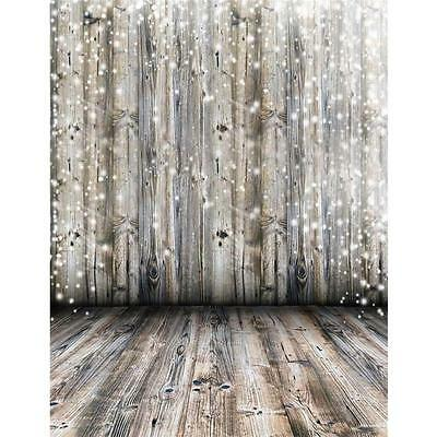 3x5Ft Photography Background Dreamy Grey Wooden Wall Floor Backdrop Studio Prop