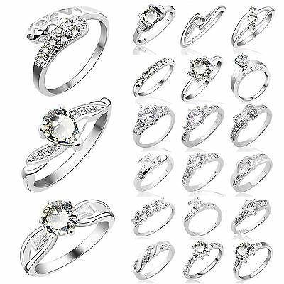 Women Fashion CZ 925 Sterling Silver Rings Crystal Wedding Engagement Jewelry
