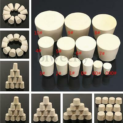 10pcs 13 Size Laboratory Rubber Plug Stopper Bungs Flask Tapered Tube Solid Whit