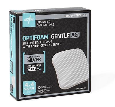 """Optifoam Gentle Ag Silicone Faced Foam Dressing with Silver: 4"""" x 4"""" - Box of 10"""