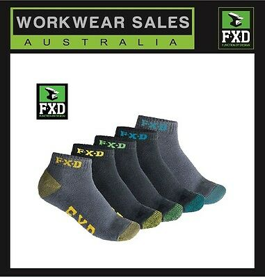 2X Mens FXD  SK-3 Socks 5 Pack Ankle Sock Multi Pack Workwear 10 Pairs