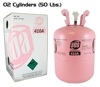 2 X R-410A Refrigerant - 25 Lb Cylinder - Original SÜA - New and Sealed Tank