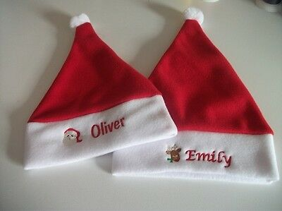 Santa Hat Personalised Baby or Toddler  Santa or Reindeer motif, 4 sizes