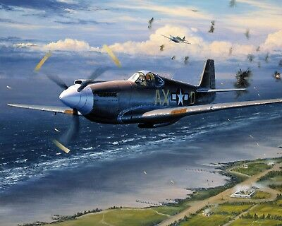 WWII Mustang Plane Over Normandy US History War Painting Real Canvas Art Print