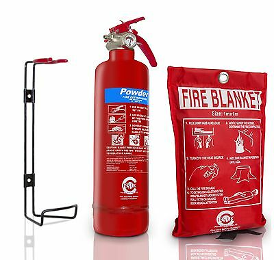 Offer!!! 1 Kg Powder Abc Fire Extinguisher With Fire Blanket Home Office Kitchen