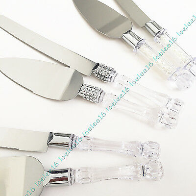 Wedding cake knife and server set faux rhinestones pearls acrylic crystal handle