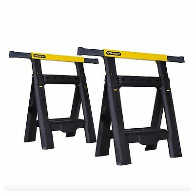 Stanley Folding Saw Horse Sawhorse Adjustable Legs Jobsite Table 2 Pack Tool New