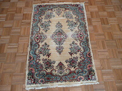 3 X 5 Hand Knotted Ivory Persian Fine Kerman Oriental Rug G686