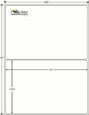 Labels - 8.25 X 5.375 - 2000 Rounded Corner Shipping Labels / 2 Per Sheet