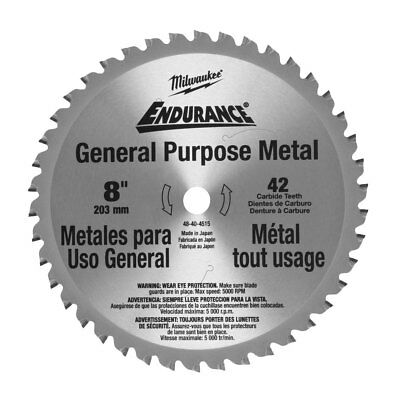 "Milwaukee 48-40-4515 8"" 42 Tooth Cermet Tip Metal Cutting Saw Blade New"