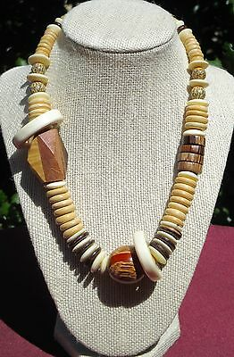 Crafted Tropical Wooden-Beaded Necklace - Made In Philippines