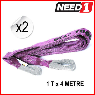 1T  x 4 M Lift Safe Flat Lifting Sling (Pack of 2) 100% Polyester c/w Test Cert