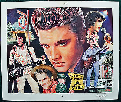 1983 Elvis Presley Montage Poster Gary Giuffre Signed Western Galleries Bellvill