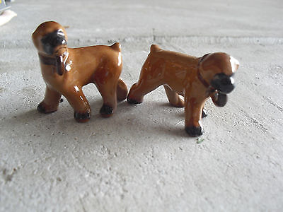 "Lot of 2 Vintage 1960s Ceramic Brown Dog Figurines 1 3/4"" Tall"