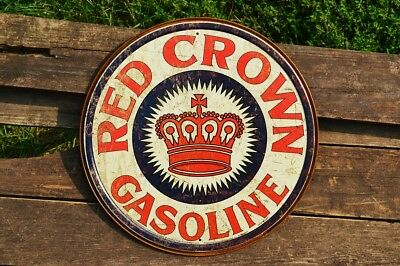 Red Crown Gasoline Tin Metal Sign - Standard Oil Co. Inc. - Retro