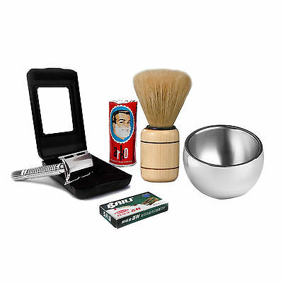 Baili®Shaving Set Silver Double Edge Safety Razor -Natural Shaving Kit For Men's
