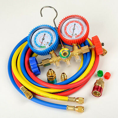 R134a R12 R502 A/C Manifold Gauge Set 5ft Colored Hose Air Conditioner Refrige