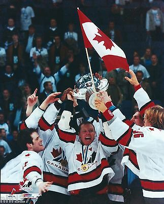 2003 IIHF Team Canada Mens Gold Medal Maltby Comrie Flag Trophy Photo OOP