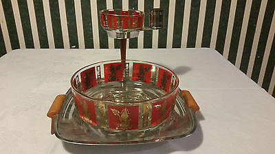 Chip And Dip Bowl Vintage Gold Oriental Figure On Red Background With Stand