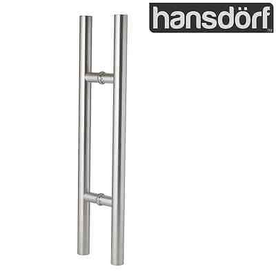 Entrance Door Handle Pull Set - 450mm - Round Stainless Steel