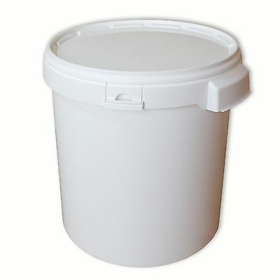 Plastic 30 L bucket with lid, hobbock, 2 handles, paint, food, water (22049)