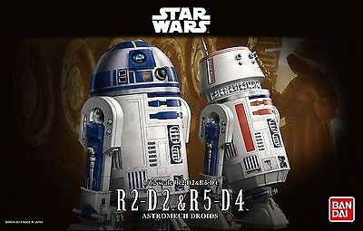 New Bandai Star Wars 1/12 Scale R2-D2 & R5-D4 Plastic Model Kit Free Postage