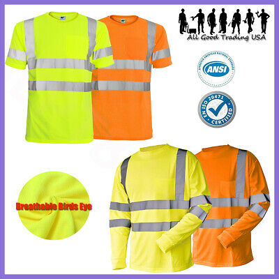 Hi Vis T Shirt ANSI Class 3 Reflective Safety Lime Short Long Sleeve Road Work