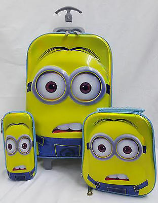 3 Piece 5D School Backpack Rucksack Trolley Travel Bag Kids Minions Movie Dave
