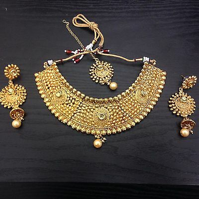 New Designer Indian Bollywood Costume Jewellery Necklace Set Gold Bronze Stone-A
