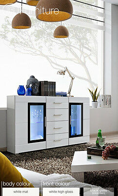 Modern Chest Drawers Cabinet Sideboard Buffet Cupboard Glossy Krone Free P&P