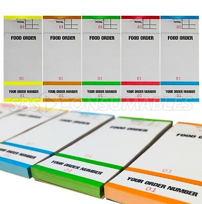 20x Food Order Waiter/Waitress Restaurant Pads. 1-100. Coloured, Numbered - BF84