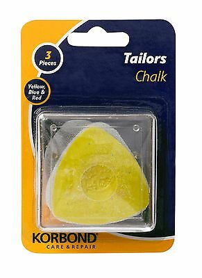 Korbond Tailors Chalk. 3 pieces Red Yellow & Blue ref 5411