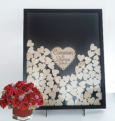 Personalised Shabby Wooden Guest Book dropbox Frame Wedding Engagement 170hearts
