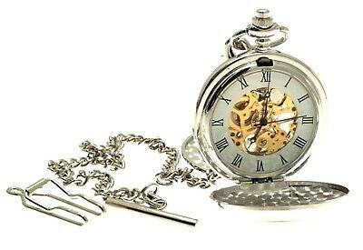 Mens Pocket Watch Mechanical Design Silver in Colour Many Designs - List A
