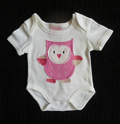 Baby clothes GIRL newborn 0-1m Bebe Bonito white cotton pink owl bodysuit/outfit