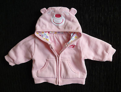 Baby clothes GIRL 0-3m NEW Dunnes pink zip hood smiley bear jacket cotton-lined
