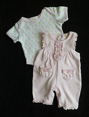 Baby clothes GIRL newborn 0-1m pink/white spot cotton dungarees/pastel bodysuit