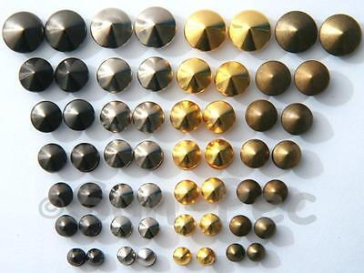 Rivets Burr Set 5-12mm Round Prism Dome Steel Plated for Leather Bags Shoes Belt